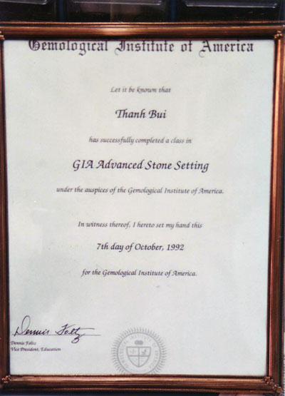 GIA Certification - Gemological Institute of America Inc.